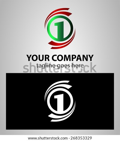 Number one 1 logo icon template  - stock vector