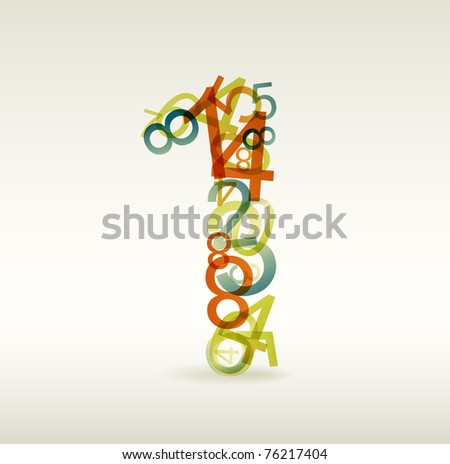 Number one made from colorful numbers -  check my portfolio for other numbers - stock vector