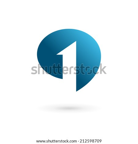 Number one 1 speech bubble logo icon design template elements. Vector color sign. - stock vector