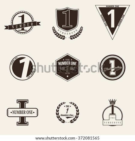 Number One Vintage Logo - stock vector