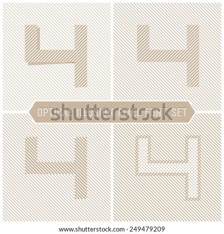 Number 4 - Optical Illusion Alphabet Set - stock vector