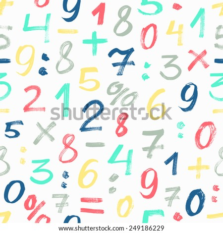 Number seamless pattern. Vector illustration. - stock vector
