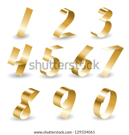 Number set from gold ribbon with shadow - stock vector