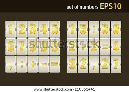 Number set from 1 to 9, vector illustration