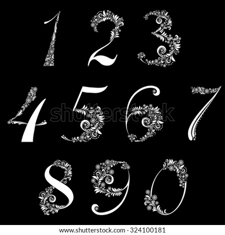 Number set made of snowflake isolated on black  background. vector illustration - stock vector