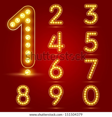 Number set with realistic lamp, vector illustration. can be used for christmas / happy new year / happy birthday and more. - stock vector