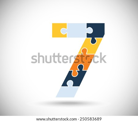 Number seven consisted of  color puzzles  on the gray backdrop. - stock vector