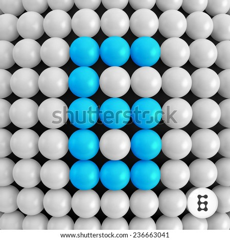 Number six. Abstract mathematics background. 3d vector illustration.  - stock vector