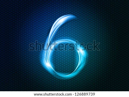 Number SIX from the big abstract numerical series. - stock vector