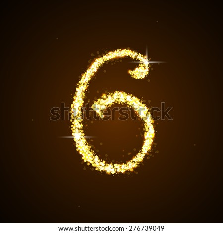 Number six of gold glittering stars - stock vector