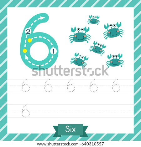 Number Six Tracing Practice Worksheet 6 Stock Vector HD (Royalty ...