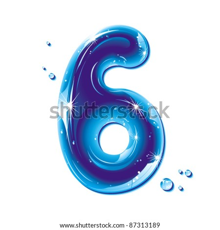 number six, with water written numeral, Vector Illustration