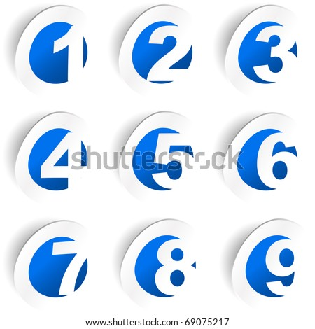 Number sticker collection. Vector set. - stock vector