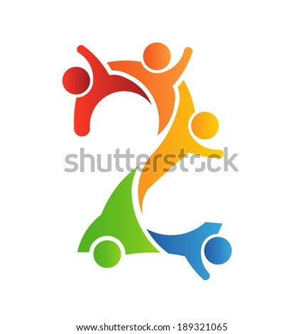 Number 2 Teamwork . Vector concept for community, social people - stock vector