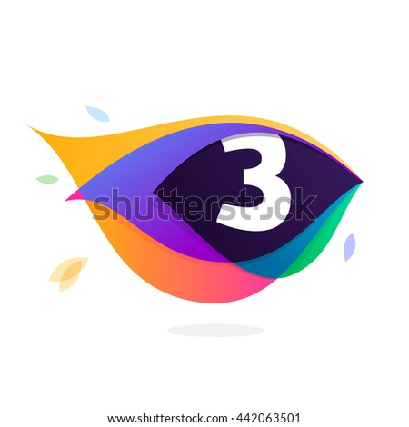 Number three logo in peacock feather icon. Colorful vector design for banner, presentation, web page, app icon, card, labels or posters. - stock vector