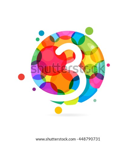 Number three logo with rainbow dots. Colorful vector design for banner, presentation, web page, card, labels or posters.