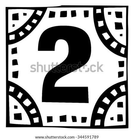 Number two as abstract woodcut style pattern. Vector design element illustration - stock vector