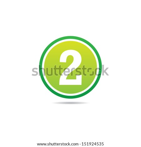 Number Two Icon - stock vector