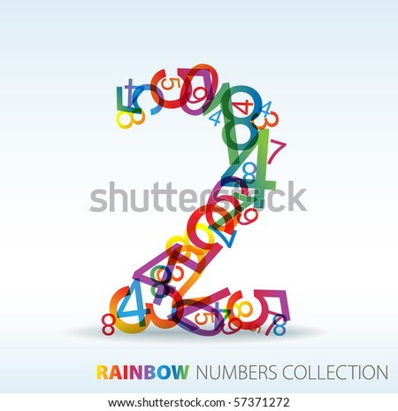 Number two made from colorful numbers -  check my portfolio for other numbers - stock vector