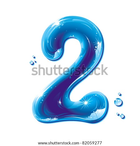 number two, with water written numeral, Vector Illustration - stock vector