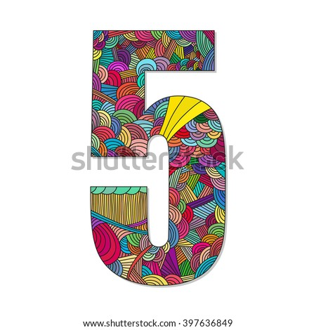 Number 5 with hand drawn abstract doodle pattern. Vector illustration.