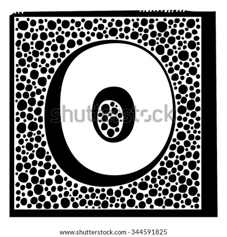 Number zero as abstract woodcut style pattern. Vector design element illustration - stock vector