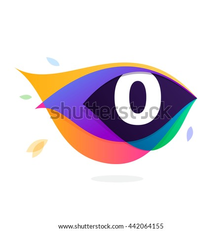 Number zero logo in peacock feather icon. Colorful vector design for banner, presentation, web page, app icon, card, labels or posters. - stock vector
