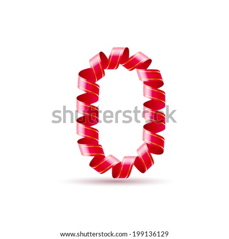 Number zero made of red curled shiny ribbon - stock vector