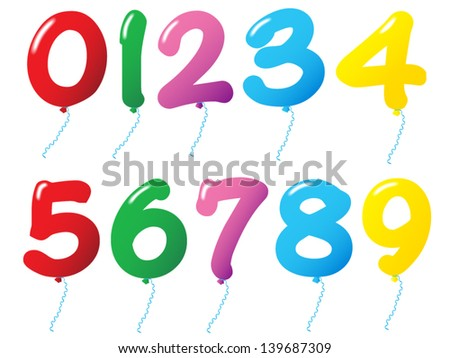 Numbered Balloons on isolated background - stock vector