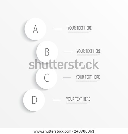 Numbered circles infographic on light background for your design and your text. Vector illustration. - stock vector