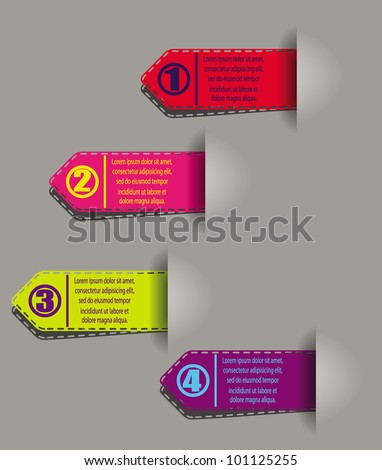 numbered colorful stickers - stock vector