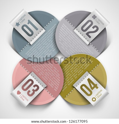 Numbered infographics round paper labels - vector illustration - stock vector