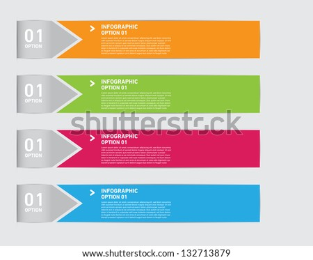 Numbered Medical Infographic with four colors and text box. - stock vector