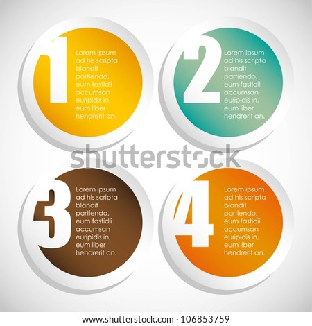 Numbering in colored circles, step by step. vector illustration - stock vector