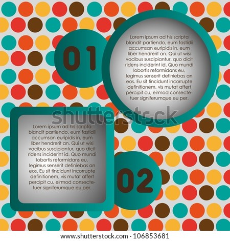 Numbering in colored squares and circles, step by step. vector illustration - stock vector