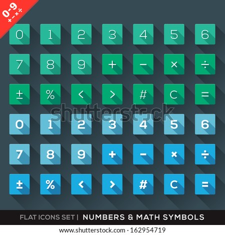 Numbers and Math Symbols Flat Icons Set with long shadow - stock vector