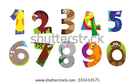 Numbers, animal numbers, good for beginners in math - stock vector
