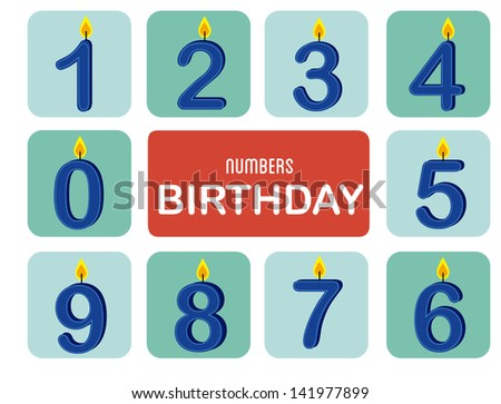 numbers birthday over white background vector illustration - stock vector