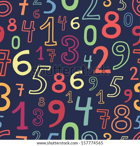 numbers bright seamless pattern - stock vector