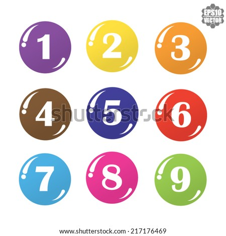 Numbers colorful set. Vector.  - stock vector