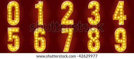 numbers for signs with lamps - stock vector