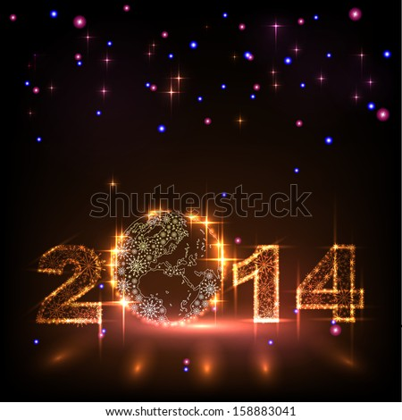 Numbers 2014 from snowflakes. Celebration background for your posters - stock vector