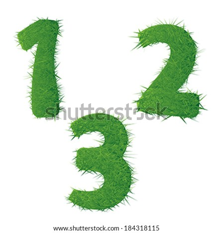 numbers from the green grass. isolated on white. - stock vector
