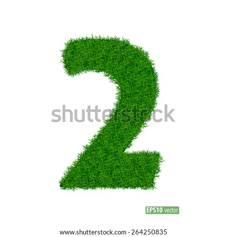 numbers from the green grass. isolated on white - stock vector