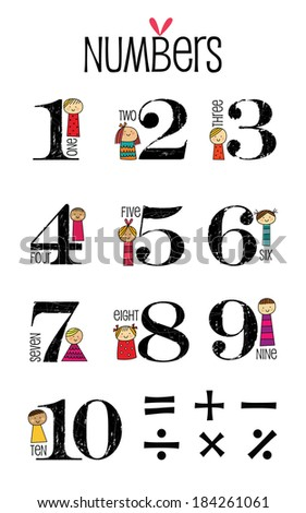 Numbers, Funny Number collection ideal for Birthday Cards - stock vector
