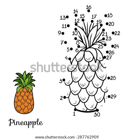 Numbers game: fruit and vegetables (pineapple) - stock vector