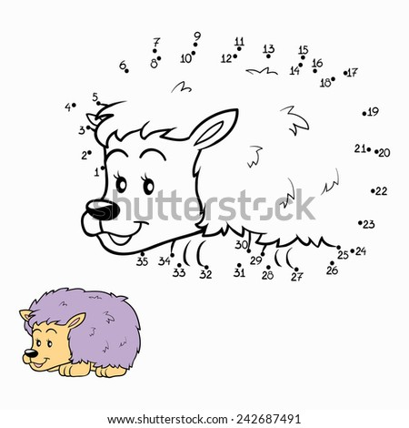 Numbers game (hedgehog) - stock vector