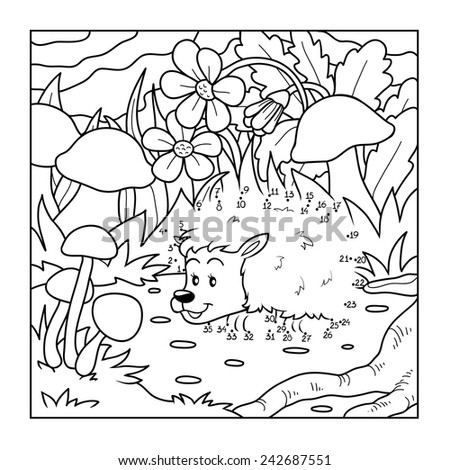 Numbers game (hedgehog in the forest) - stock vector