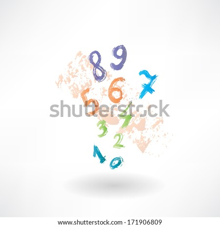numbers grunge icon. - stock vector