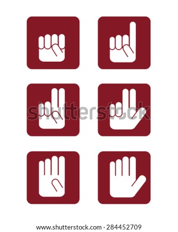 Numbers hand gesture icons - stock vector